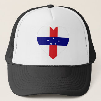 Netherlands Antilles Flag Heart Trucker Hat