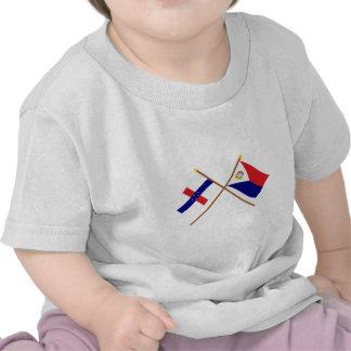 Netherlands Antilles & Sint Maarten Crossed Flags T-shirt