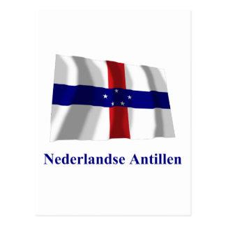 Netherlands Antilles Waving Flag w Name in Dutch Postcard