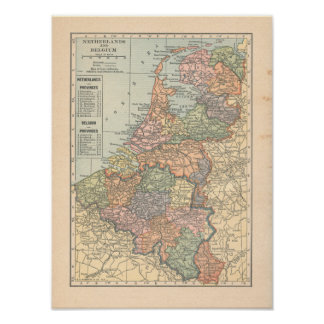 Netherlands & Belgium Vintage 1923 Map Poster