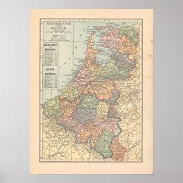 Netherlands Belgium Vintage 1923 Map Print