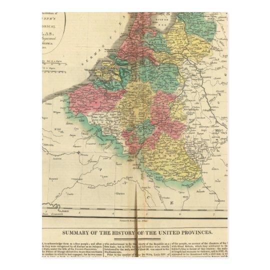Netherlands, Beligium Atlas Map Postcard