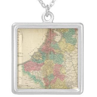 Netherlands, Beligium Atlas Map Square Pendant Necklace