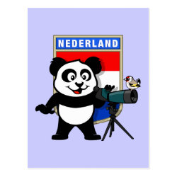 Postcard with Dutch Birding Panda design