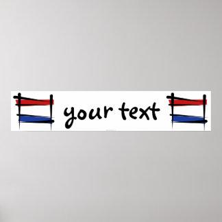 Netherlands Brush Flag Banner Print