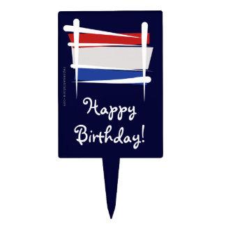 Netherlands Brush Flag Cake Topper
