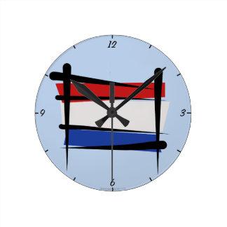 Netherlands Brush Flag Clock