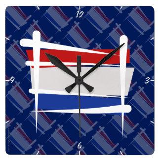 Netherlands Brush Flag Clocks