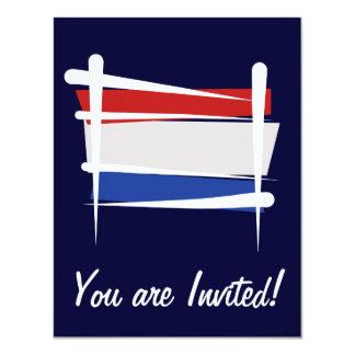 Netherlands Brush Flag 4.25x5.5 Paper Invitation Card