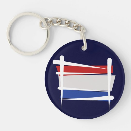 Netherlands Brush Flag Keychain