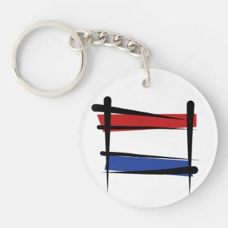 Netherlands Brush Flag Double-Sided Round Acrylic Keychain