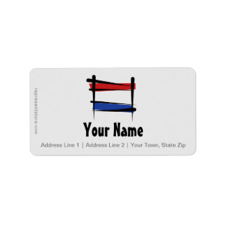 Netherlands Brush Flag Label