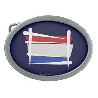 Netherlands Brush Flag Oval Belt Buckles