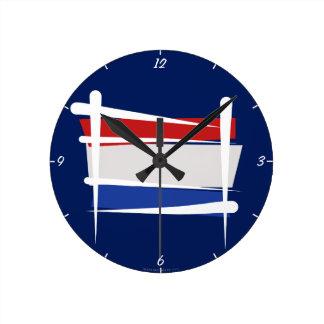 Netherlands Brush Flag Round Wallclock