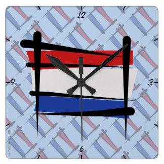 Netherlands Brush Flag Wallclock
