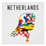 Netherlands country regions province flag map symb poster