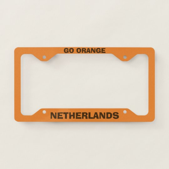 Netherlands Custom Orange License Plate Frame Zazzle Com