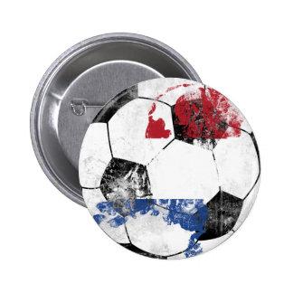 Netherlands Distressed Soccer 2 Inch Round Button