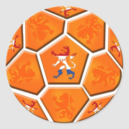 Netherlands Dutch flag Soccer ball gifts Classic Round Sticker