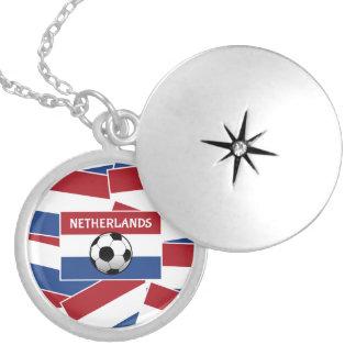 Netherlands Flag Football Round Locket Necklace