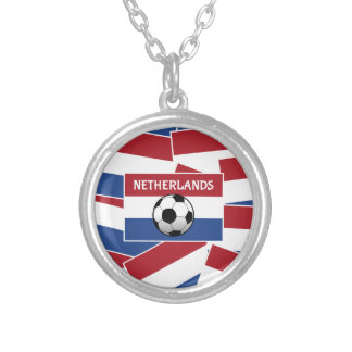 Netherlands Flag Football Round Pendant Necklace