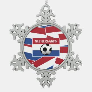 Netherlands Flag Football Snowflake Pewter Christmas Ornament