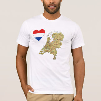 Netherlands Flag Heart and Map T-Shirt