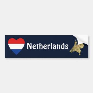 Netherlands Flag Heart + Map Bumper Sticker