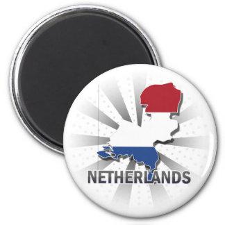 Netherlands Flag Map 2.0 2 Inch Round Magnet