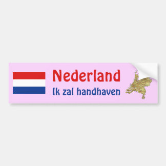 Netherlands Flag + Map Bumper Sticker