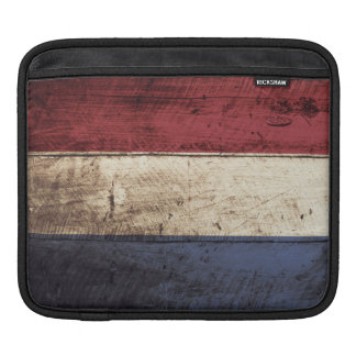 Netherlands Flag on Old Wood Grain iPad Sleeve