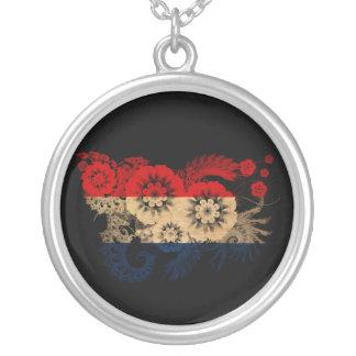 Netherlands Flag Round Pendant Necklace