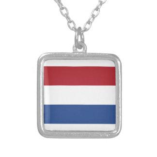 Netherlands Flag Square Pendant Necklace