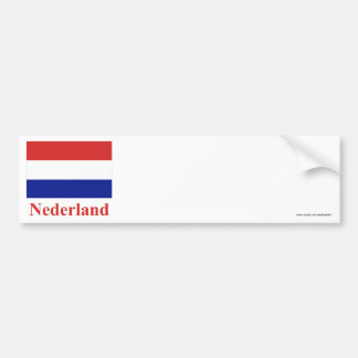 Netherlands Flag with Name in Dutch Bumper Sticker