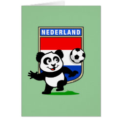 Dutch Football Panda Greeting Card