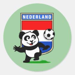 Round Sticker with Dutch Football Panda design