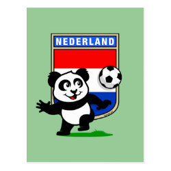 Dutch Football Panda Postcard