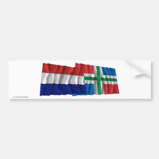 Netherlands & Groningen Waving Flags Bumper Sticker