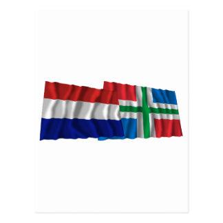 Netherlands & Groningen Waving Flags Postcard