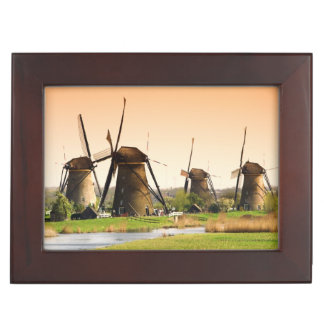 Netherlands, Kinderdijk. Windmills next to Memory Box