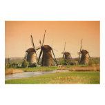 Netherlands, Kinderdijk. Windmills next to Wood Canvas