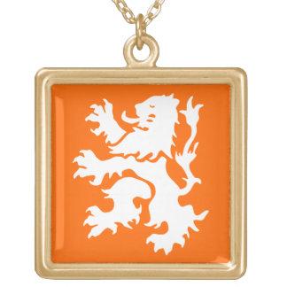 Netherlands Lion Rampant Square Pendant Necklace