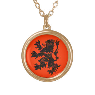 Netherlands Lion Round Pendant Necklace