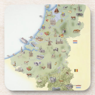 Netherlands, map showing distinguishing features beverage coaster