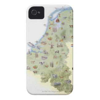 Netherlands, map showing distinguishing features iPhone 4 Case-Mate case