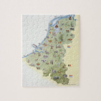 Netherlands, map showing distinguishing features jigsaw puzzle