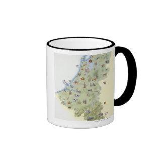 Netherlands map showing distinguishing features mug