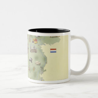 Netherlands, map showing distinguishing features Two-Tone coffee mug