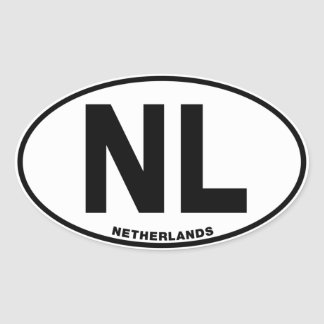 Netherlands NL Oval ID Identification Code Initial Oval Stickers
