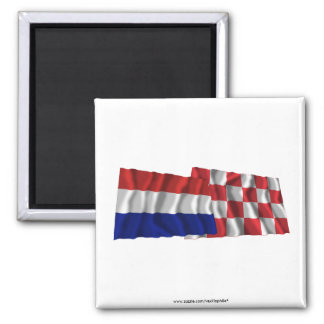 Netherlands Noord-Brabant Waving Flags Fridge Magnet